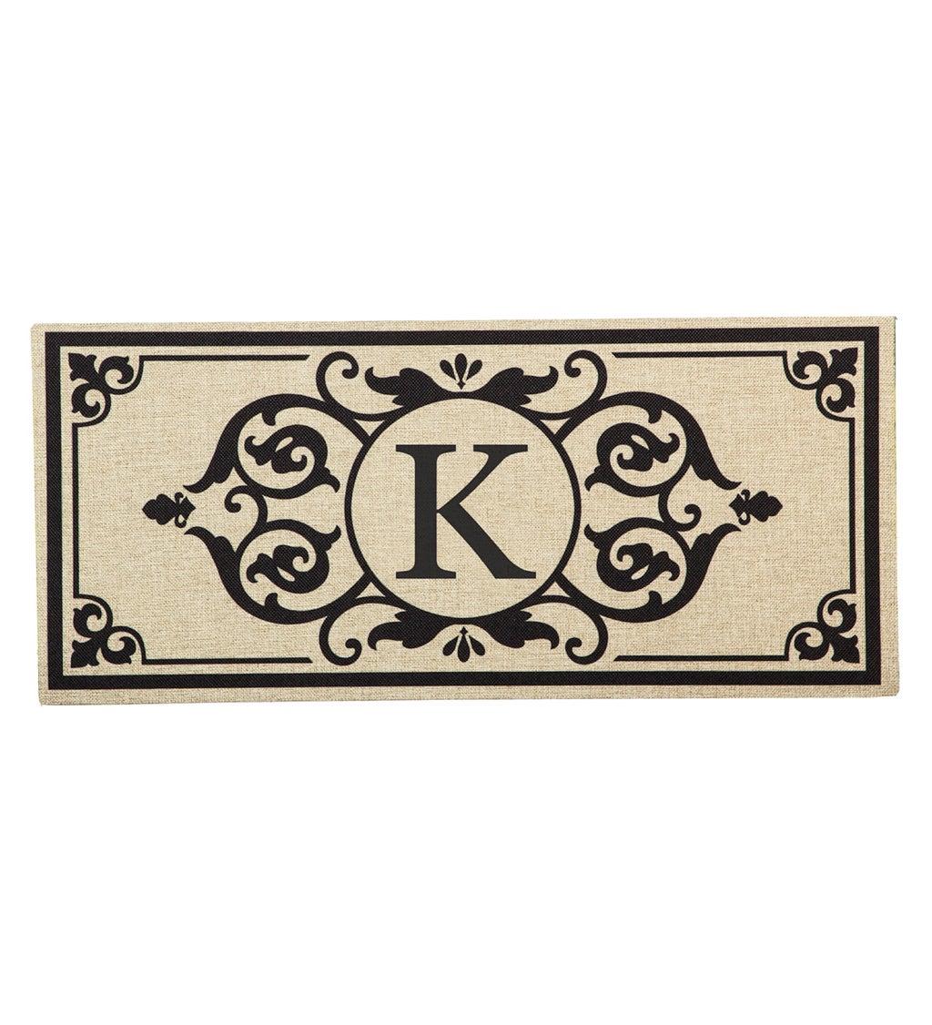 Cambridge Monogram Burlap Sassafras Switch Mat, Letter K