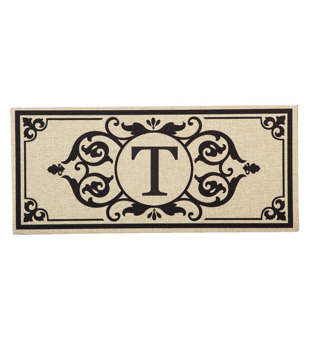 Cambridge Monogram Burlap Sassafras Switch Mat, Letter T