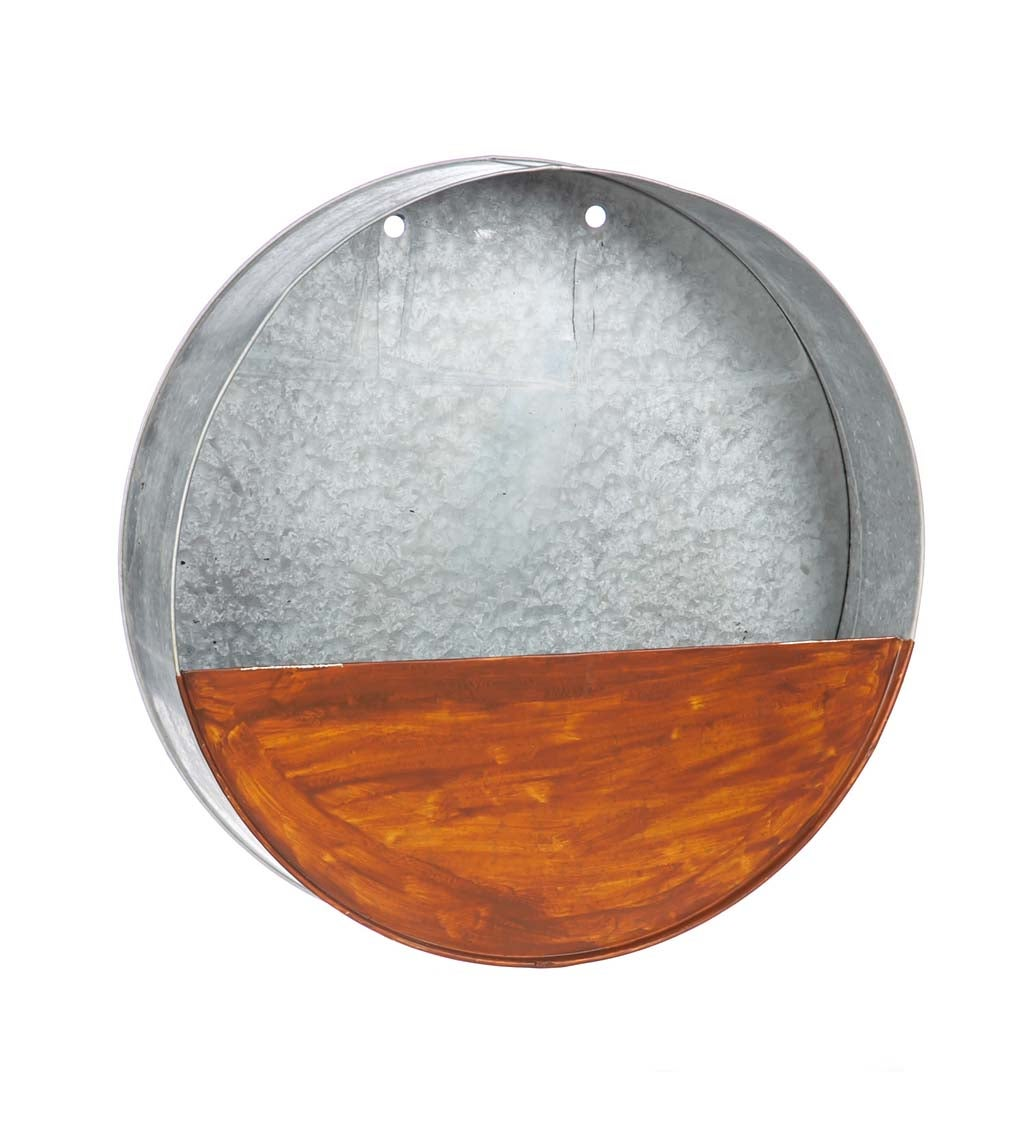 "15"" Circular Galvanized Metal Wall Planter"