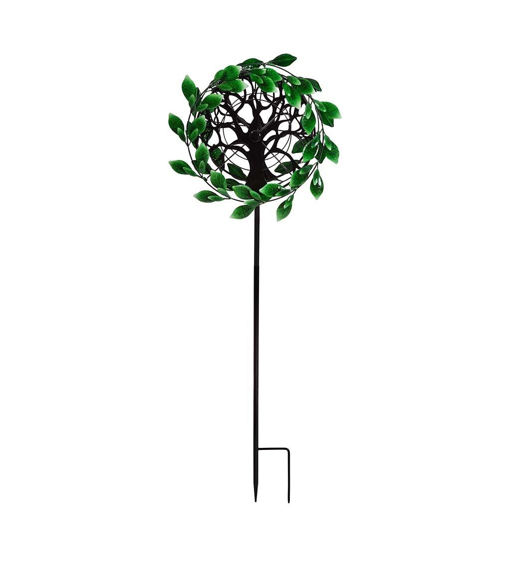 Tree of Life Green Leaves Metal Kinetic Wind Spinner