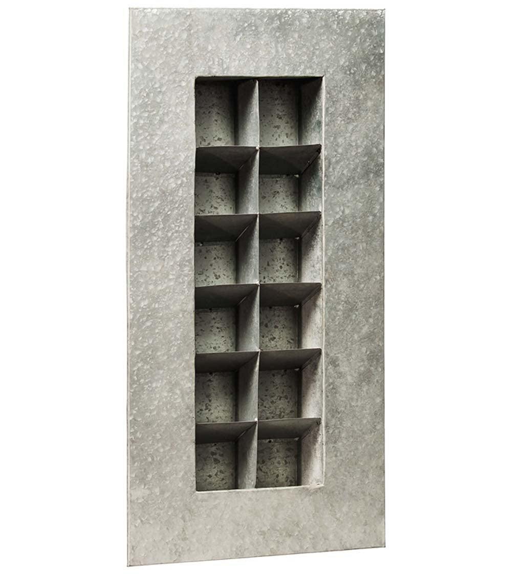 Aged Zinc Twelve Pocket Wall Planter