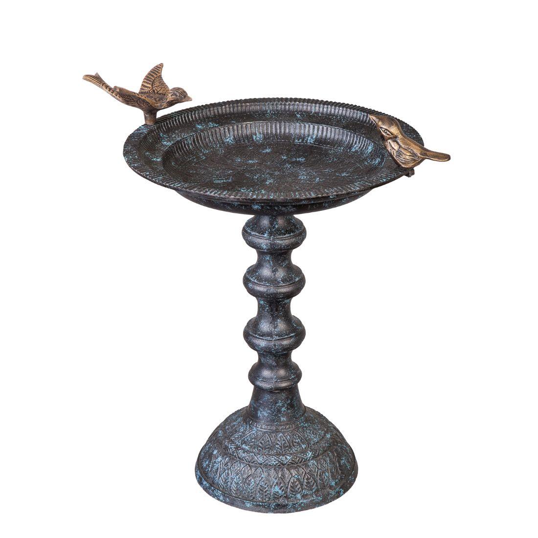 Cast Metal Bird Bath on Pedestal