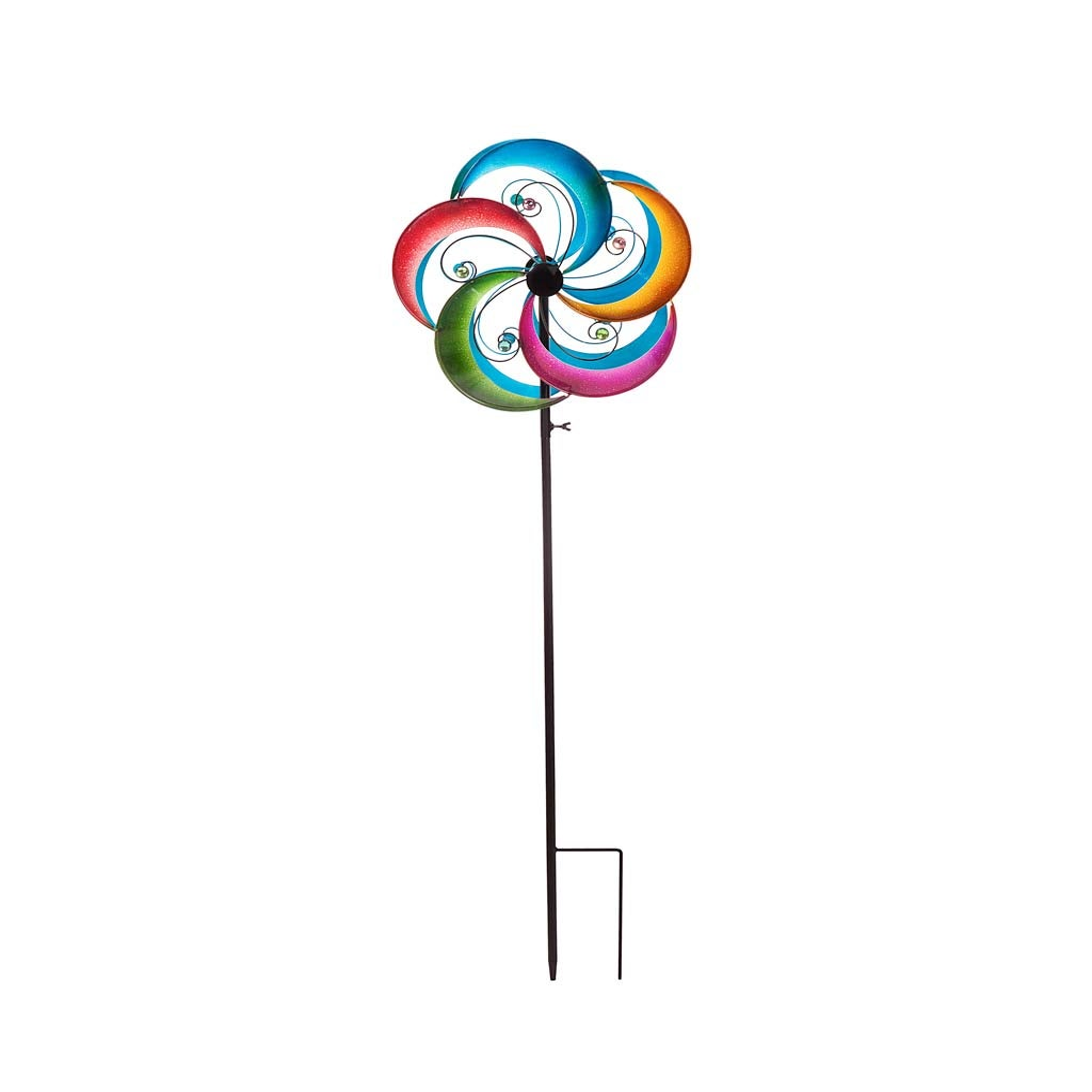 Multicolor Gems Metal Wind Spinner Topper