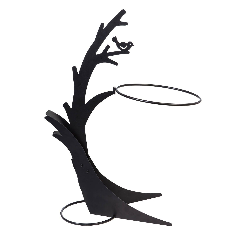 "Black Tree 36""H Metal Bird Bath Stand"