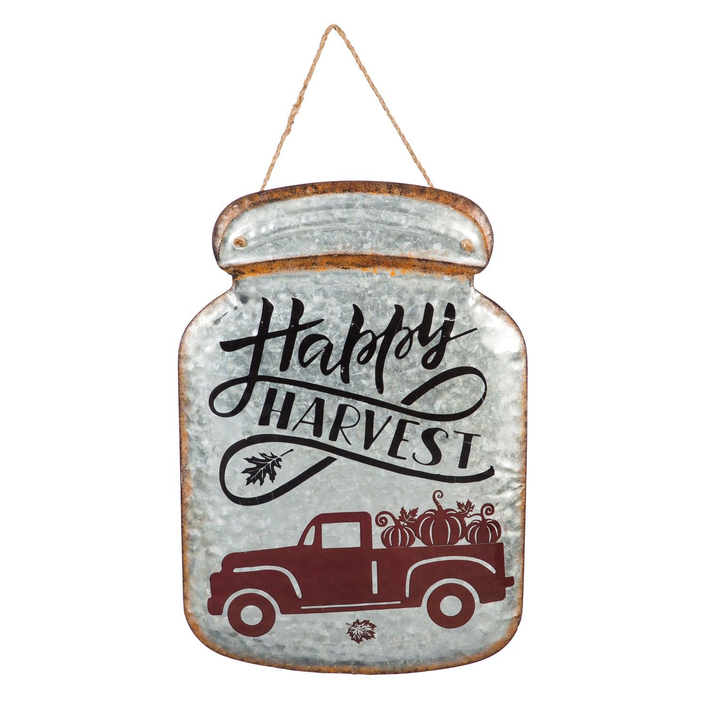 Happy Harvest Metal Mason Jar Hanging Wall Décor