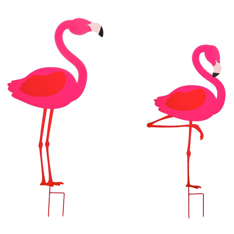 Flamingo Laser Cut Metal Yard Sign, Set of 2