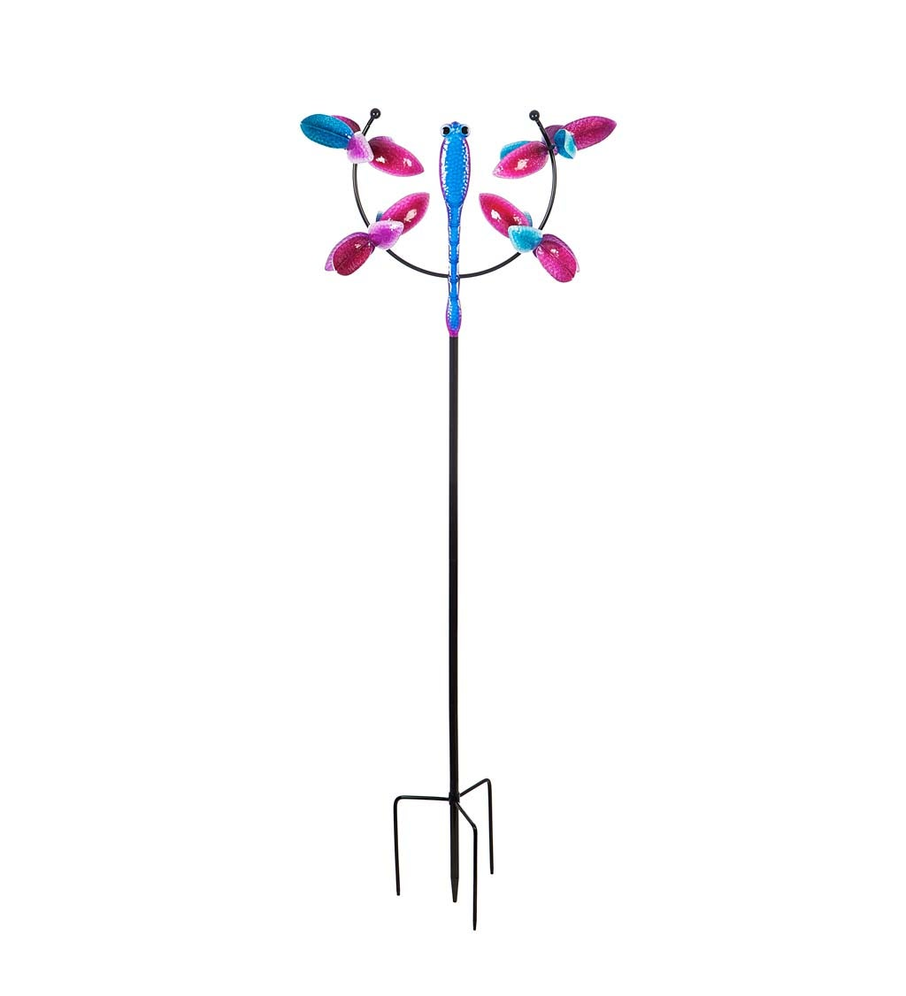 Pink and Blue Flying Dragonfly Wind Spinner