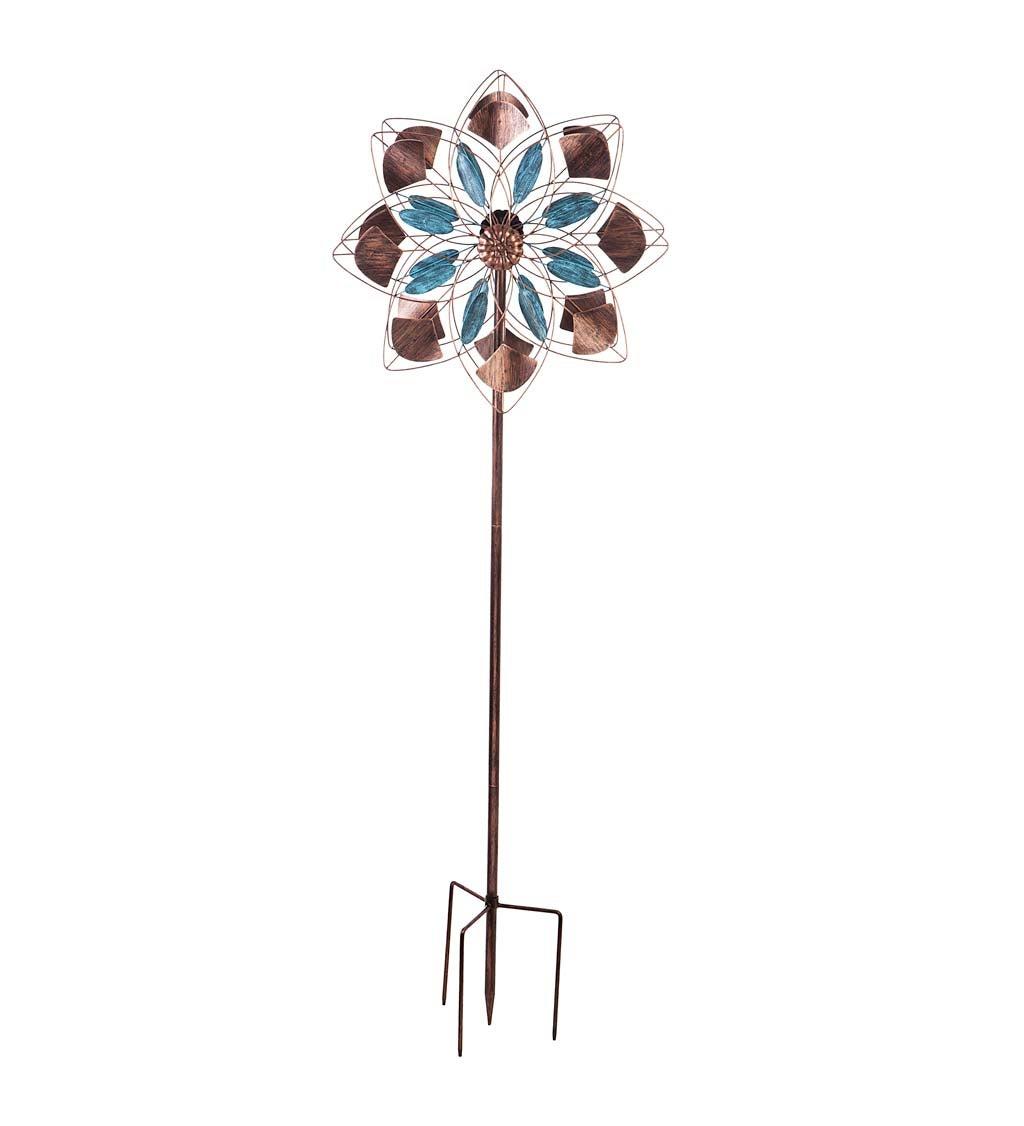 "75""H Wind Spinner, Verdigris and Copper Petals"