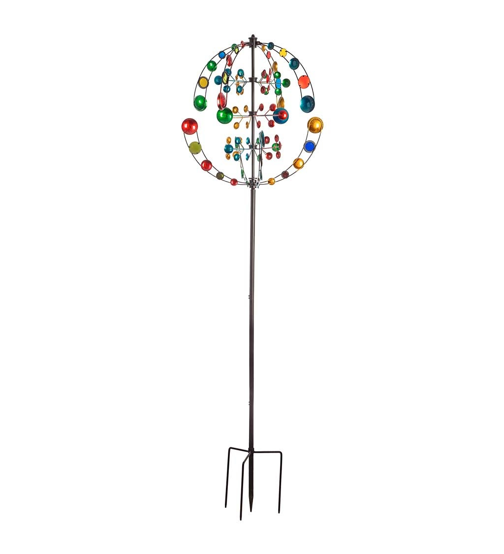"""84""""H Wind Spinner, Alternating Circles and Mirrors Multicolor"""