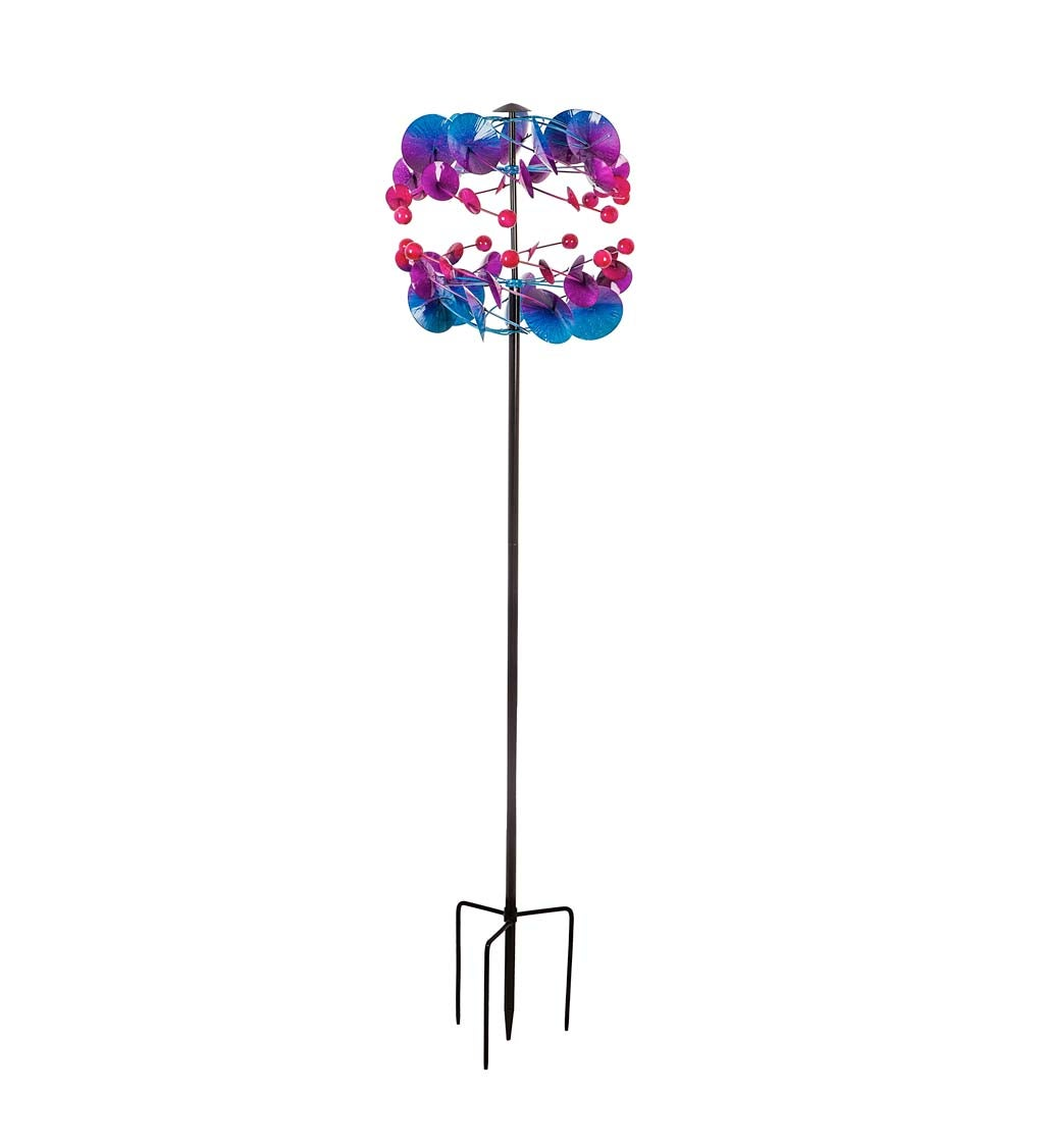 """74.75""""H Wind Spinner, Blue Purple Pink Ombre"""
