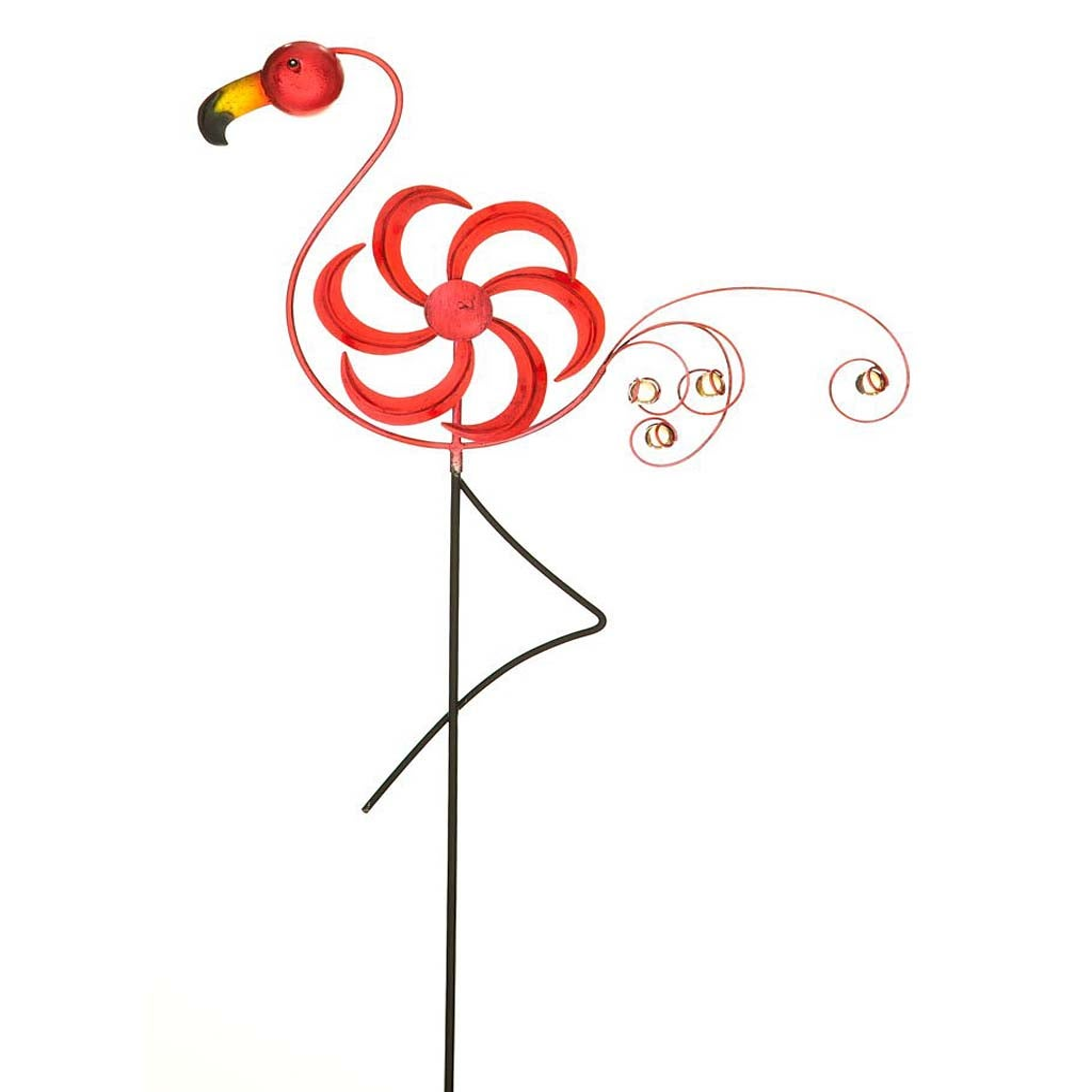 Cheerful Summer Days Flamingo Windspinner Garden Stake