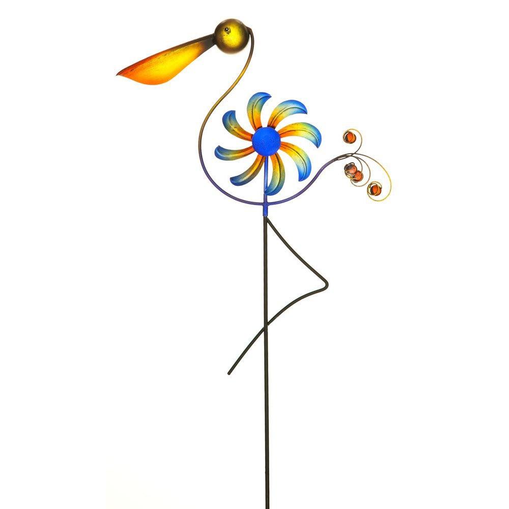Cheerful Summer Days Pelican Bird Windspinner Garden Stake