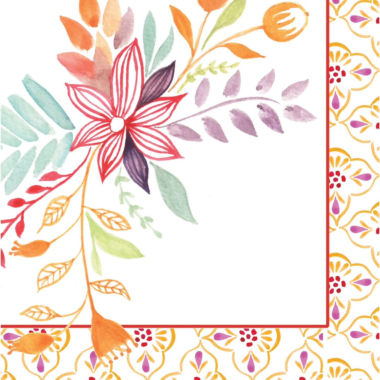 Watercolor Floral Paper Cocktail Napkins, 20 count