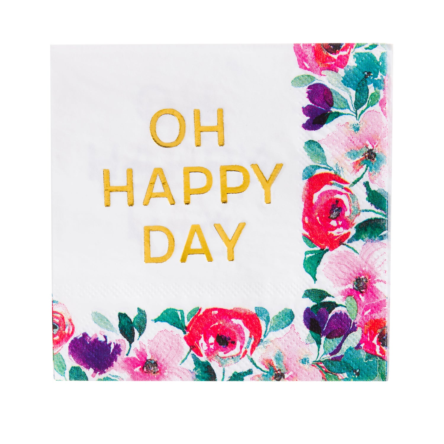 Oh Happy Day Foil Paper Cocktail Napkins, 20 count