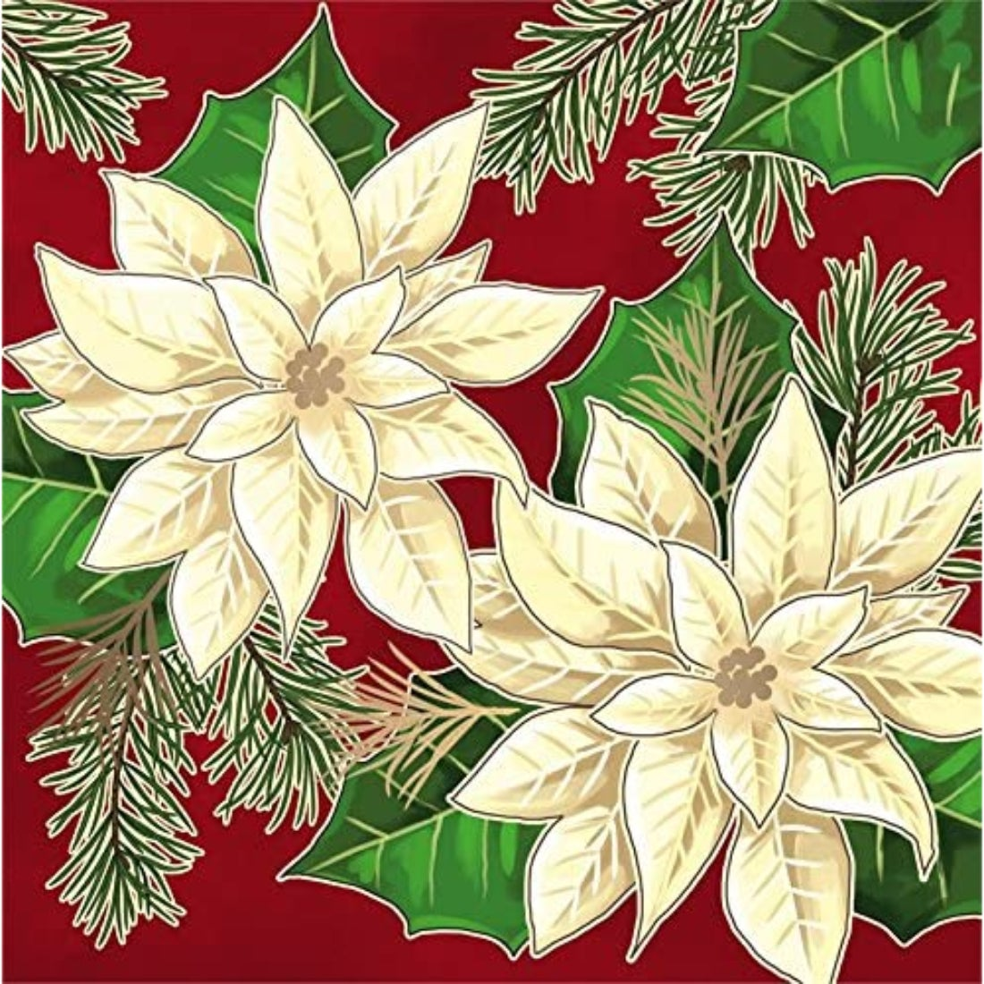 White Flowers Metallic Paper Luncheon Napkins, 20 count