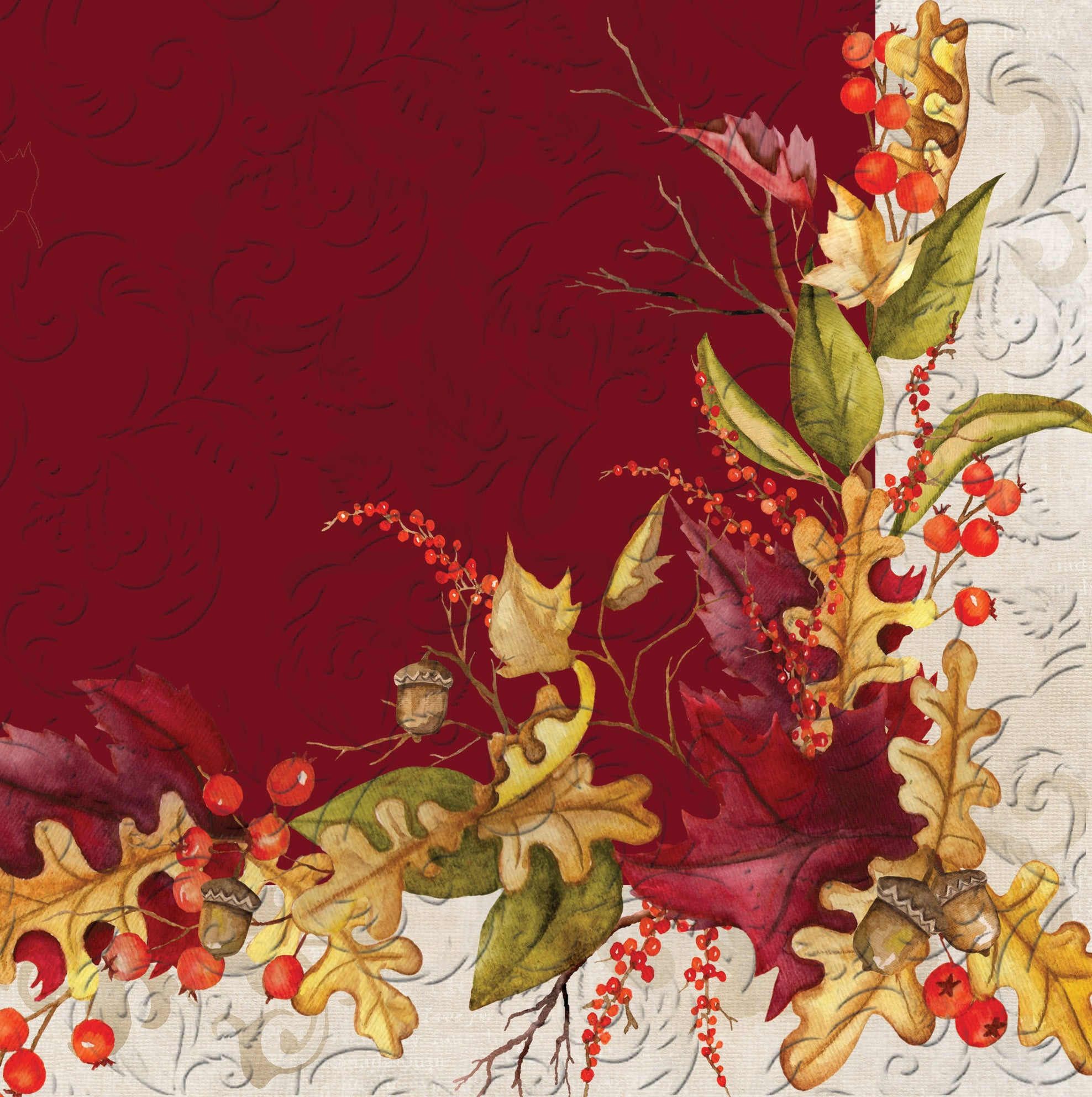Embossed Autumn Foliage Paper Luncheon Napkins, 20 Count