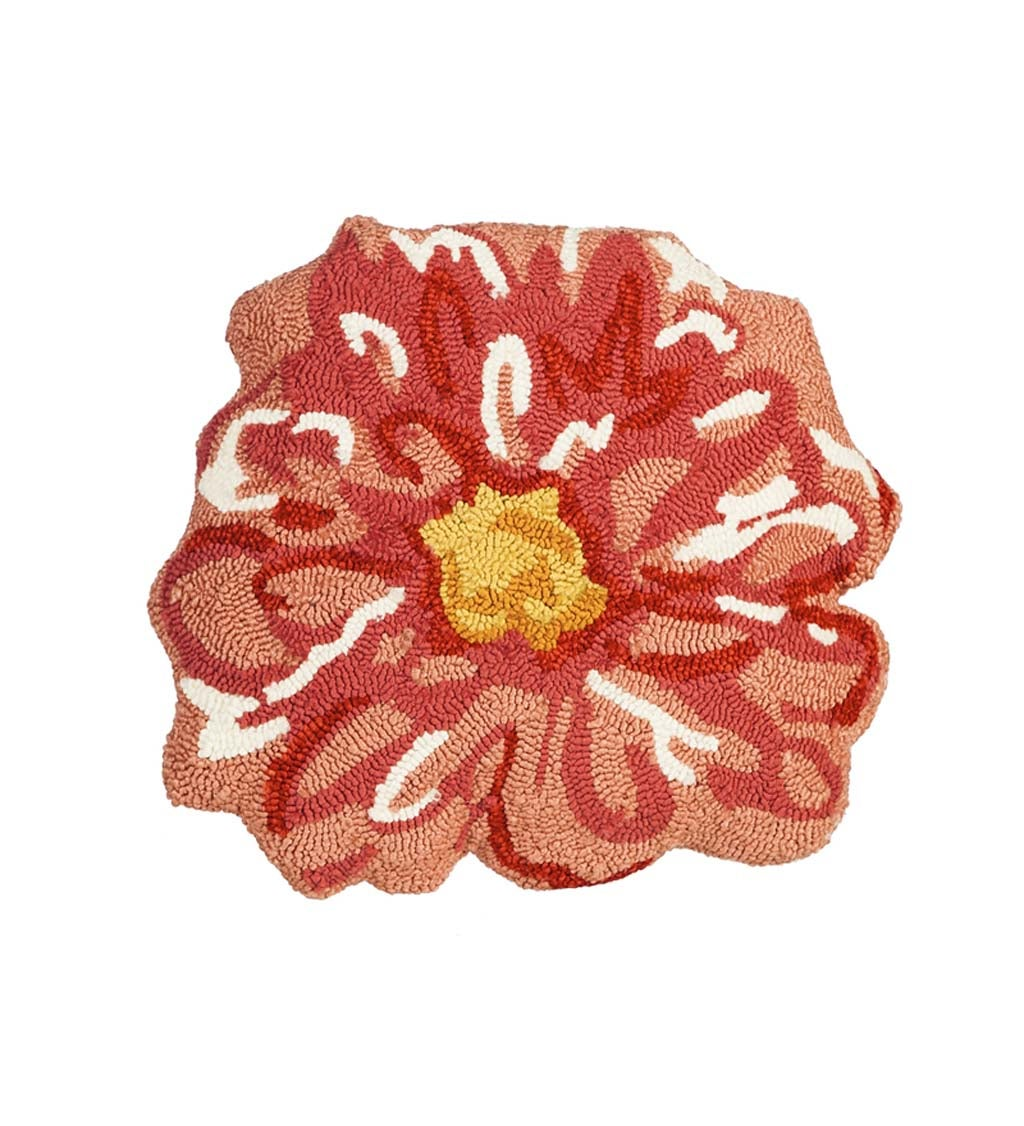 Pink Flower Shaped Hooked Pillow