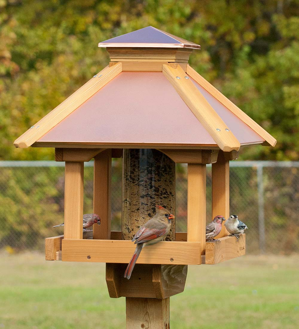 Red Cedar and Copper Gazebo Bird Feeder (715038395072 Home & Garden Decor) photo