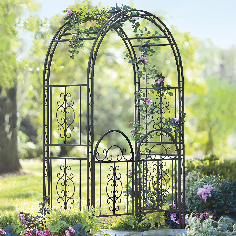Burnished Bronzed Iron Montebello Garden Arbor w/Gate