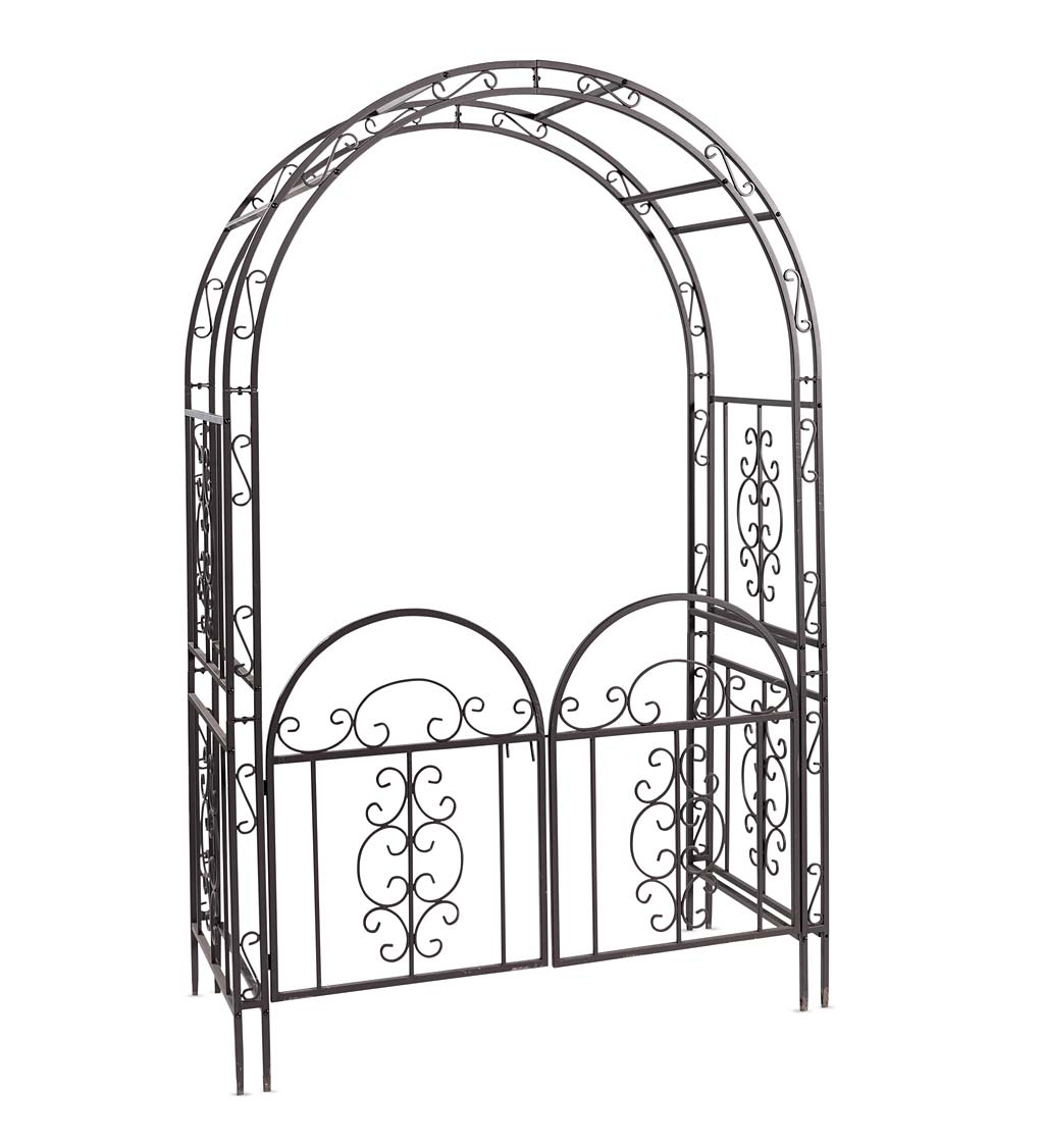 Burnished Bronzed Iron Montebello Garden Arbor w/Gate