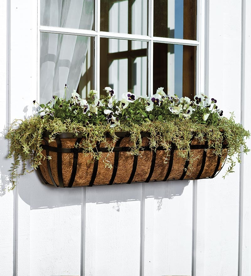 English Hay Basket Window Planter, 30
