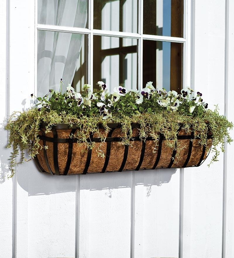 English Hay Basket Window Planter, 48