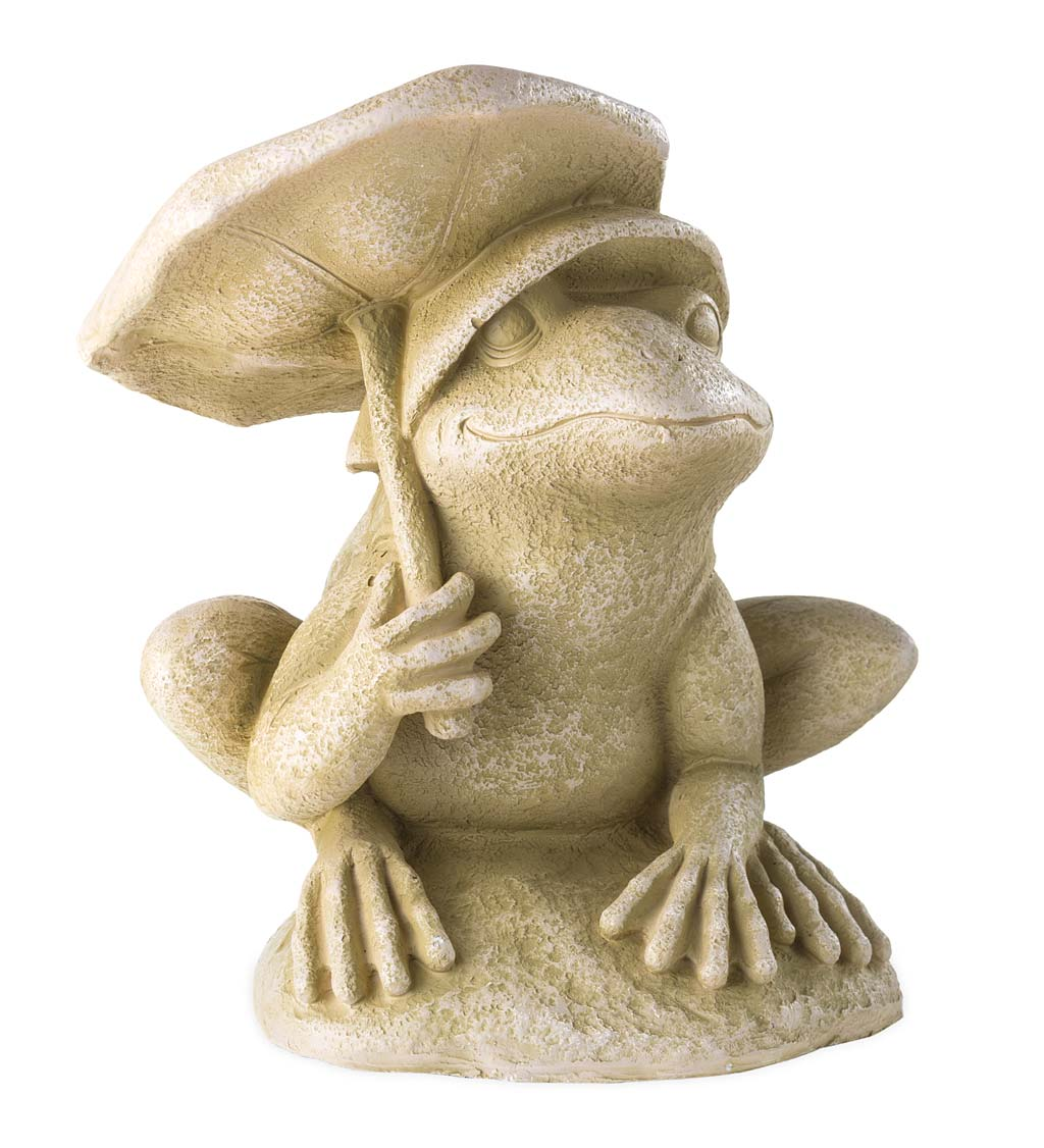 Frog With Umbrella Faux Stone Garden Statue