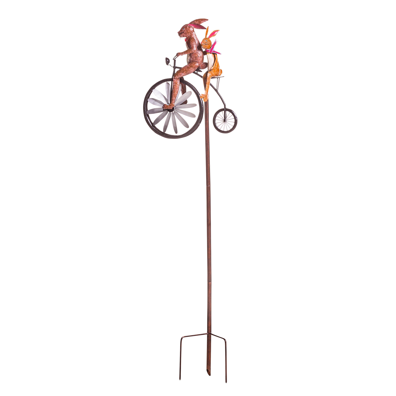 Handmade Bicycling Bunnies Metal Wind Spinner
