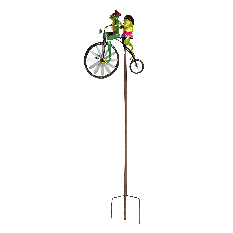 Handmade Bicycling Frogs Metal Wind Spinner