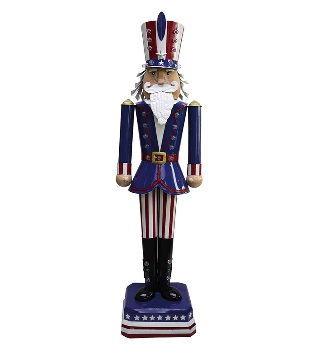 Tall Metal Uncle Sam Americana Lighted Statue