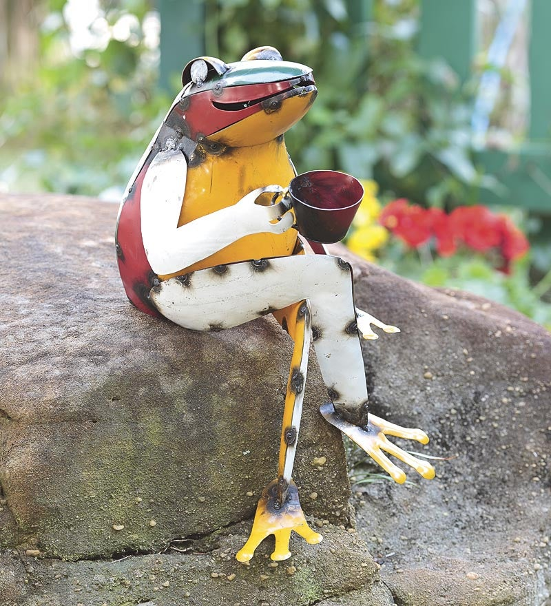 Frog Drinking Coffee Recycled Metal Garden Art