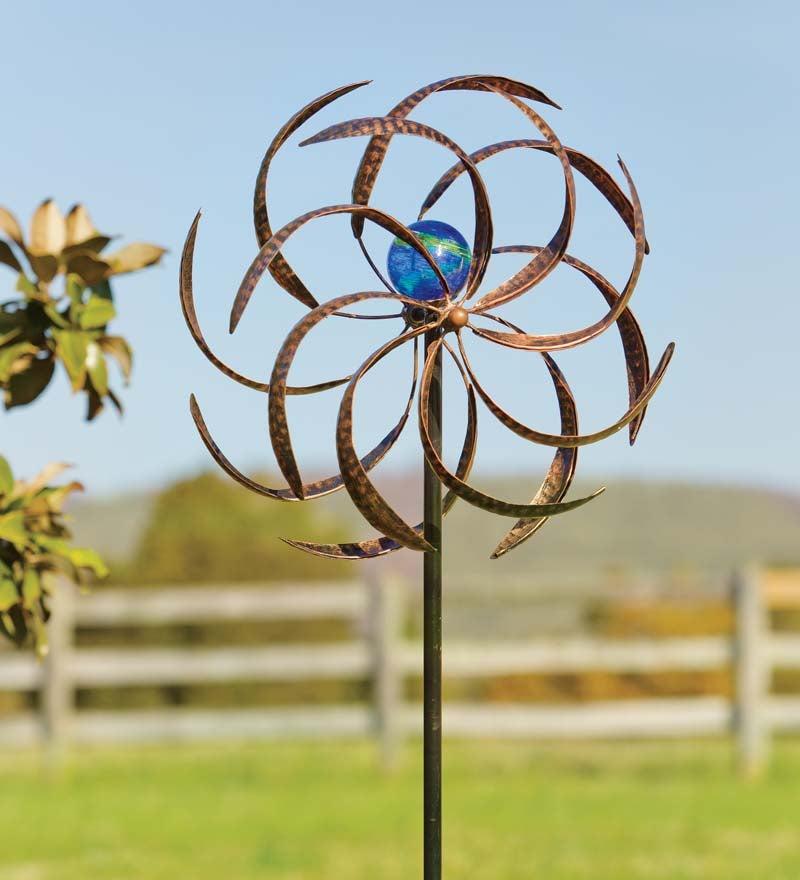 Metal Wisp Garden Wind Spinner with Glowing Glass Orb