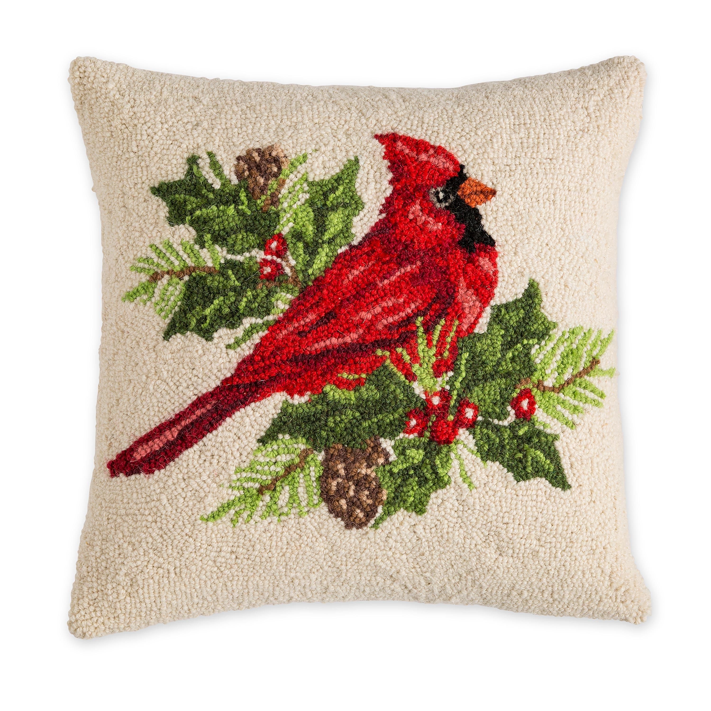 Cardinal with Holly Throw Pillow