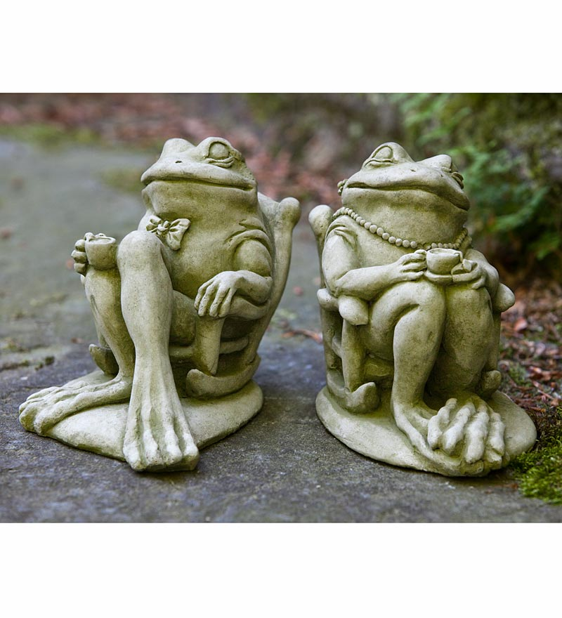 USA-Made Cast Stone Coffee and Tea Frog Garden Statues