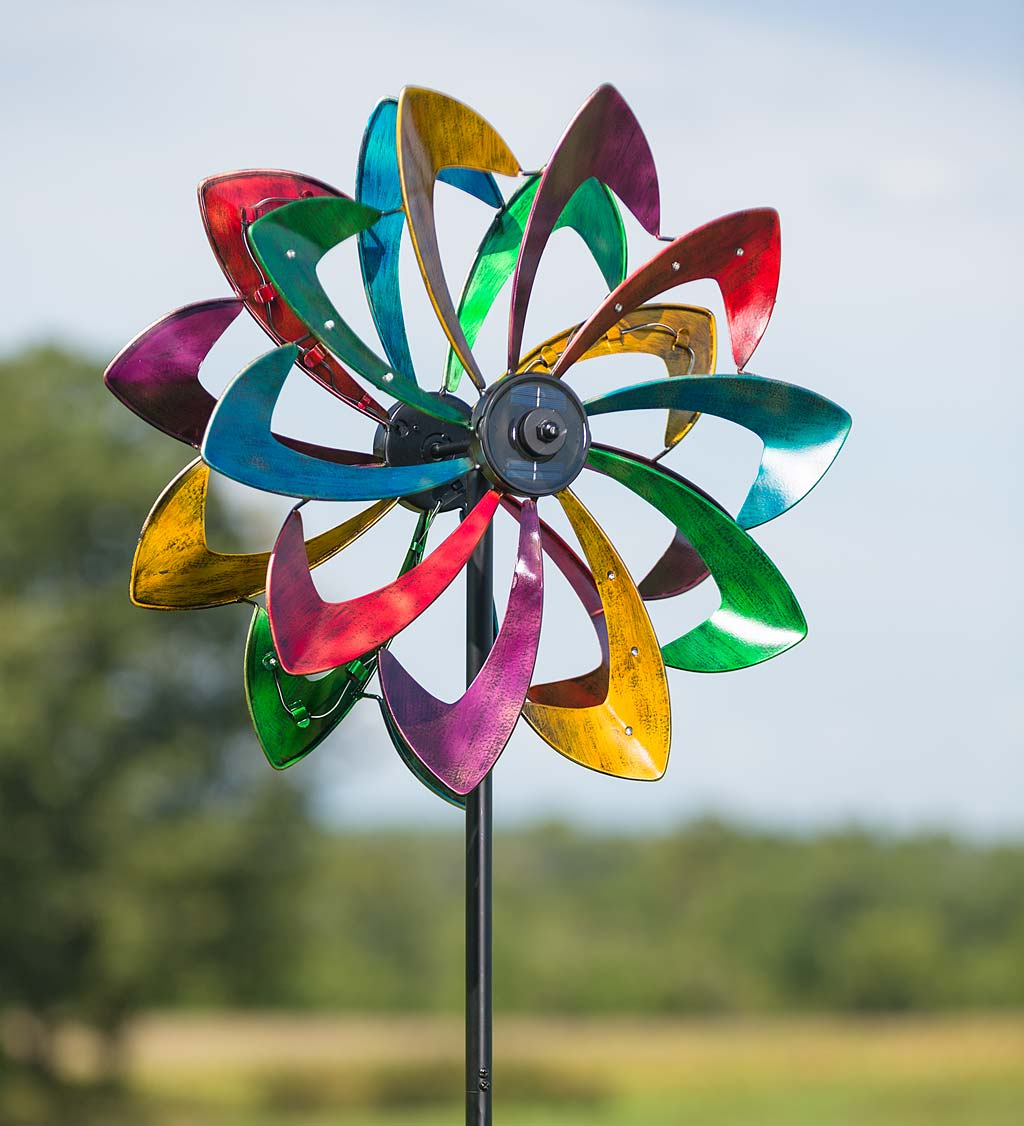Solar LED Flower Garden Wind Spinner, in Antique