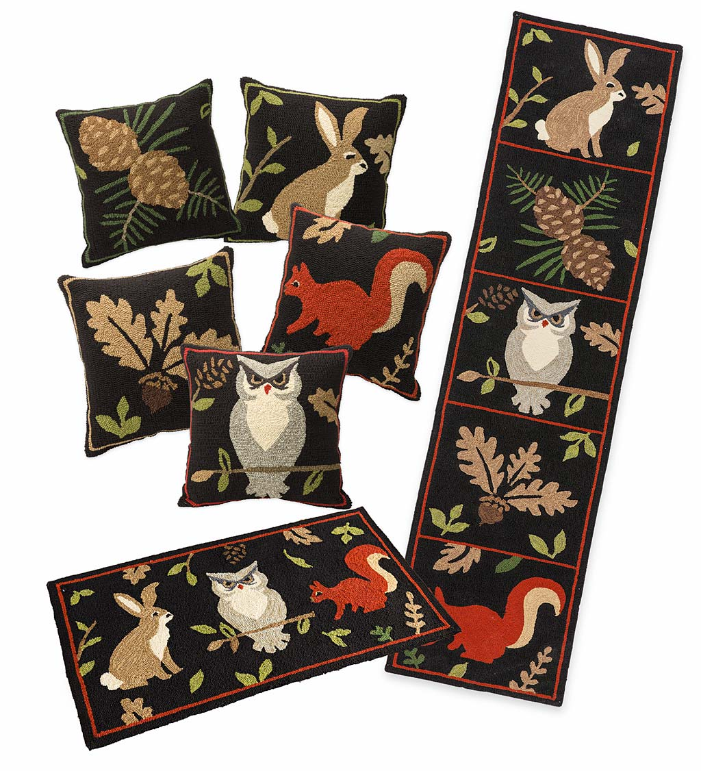 Indoor/Outdoor Woodland Throw Pillows and Rugs Set