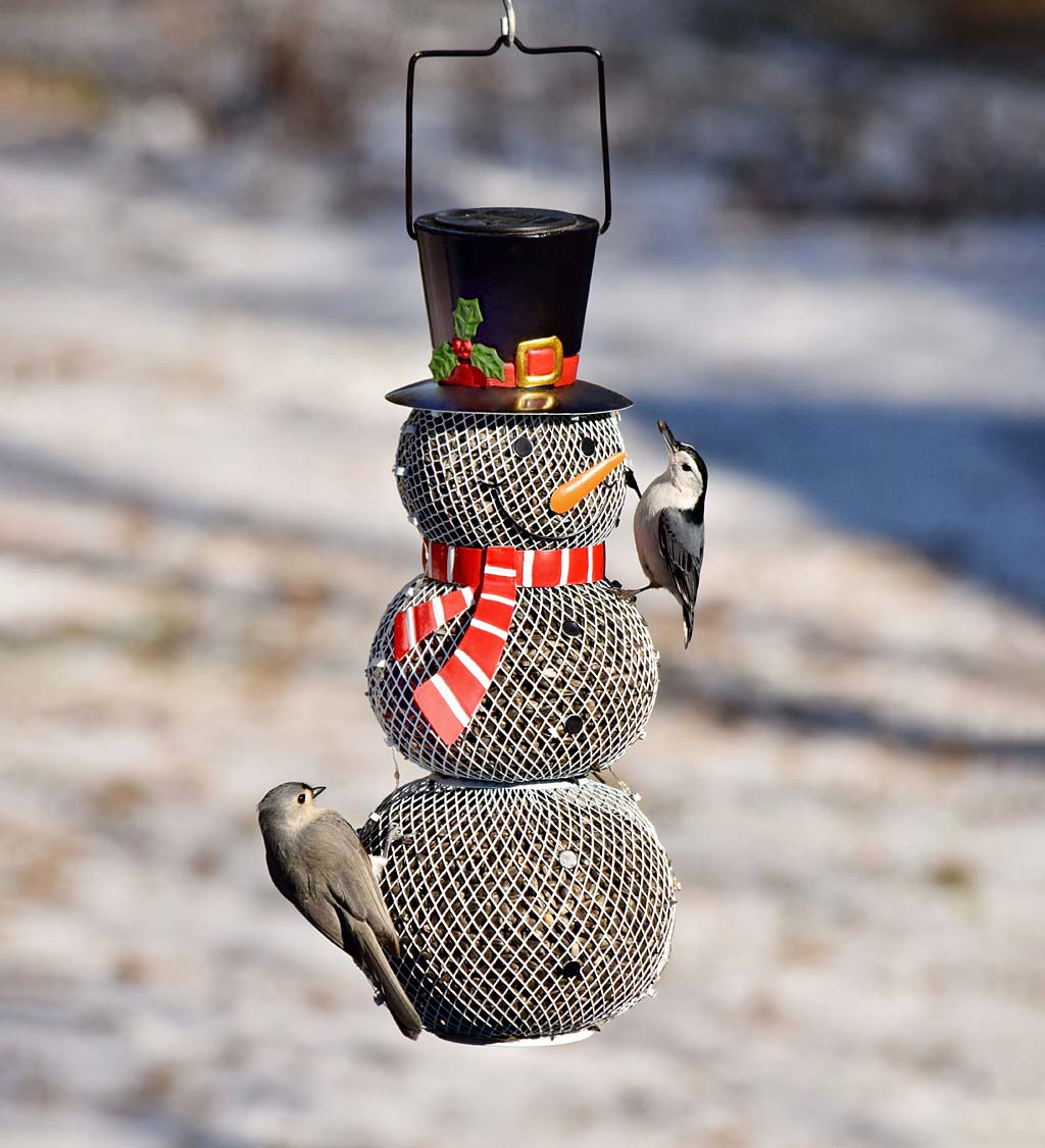 Solar Snowman Metal Mesh Bird Feeder (Home & Garden Decor) photo