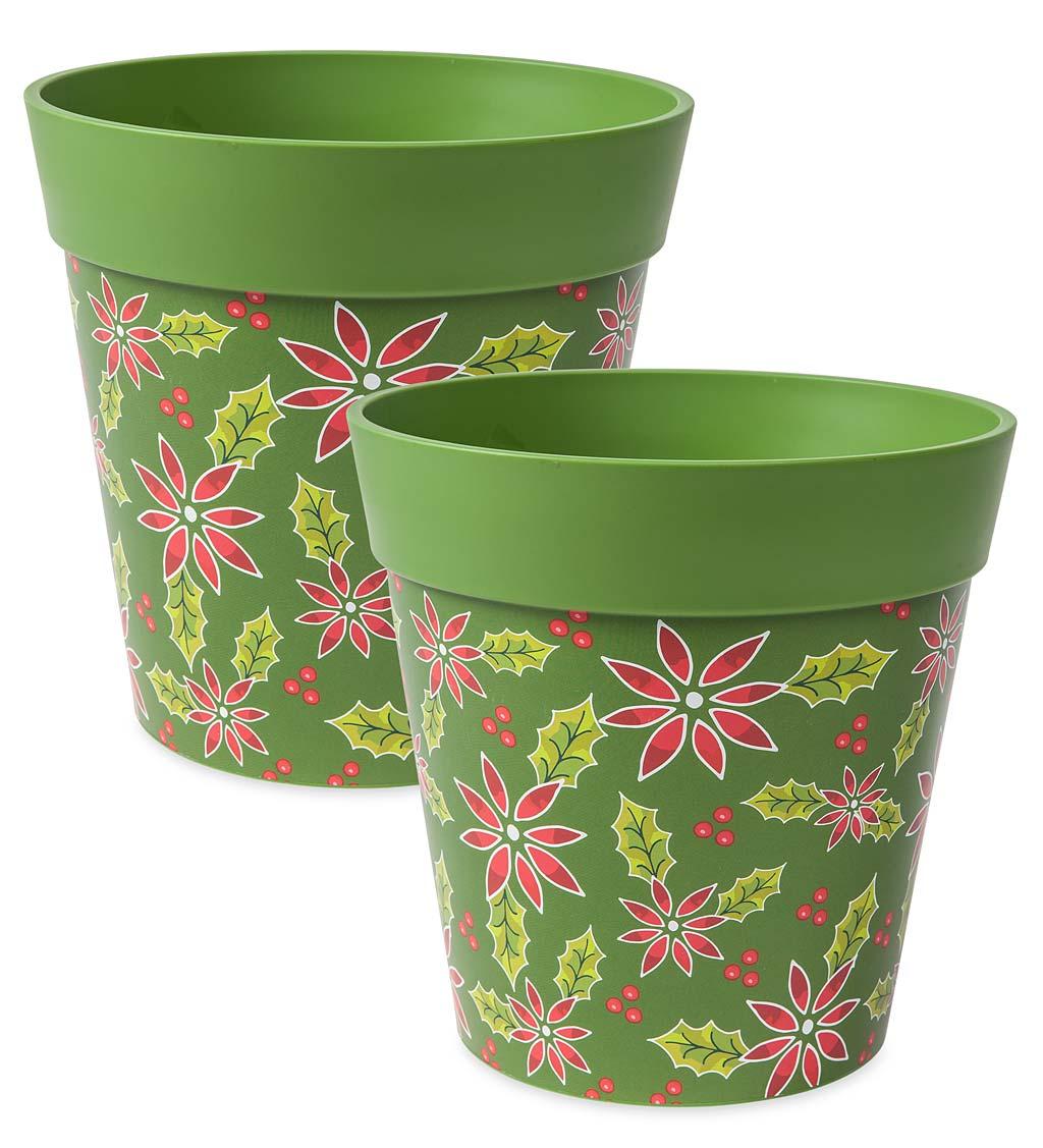 Holiday Hum Pot Colorful Plastic Plant Pots, Set of 2