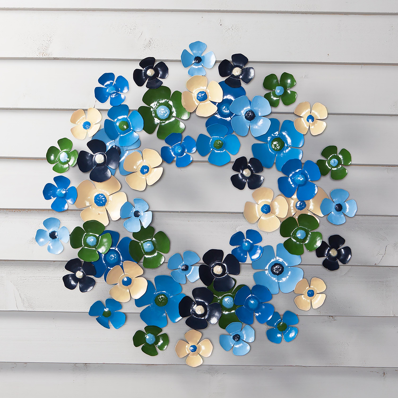 Blue Floral Metal Wreath