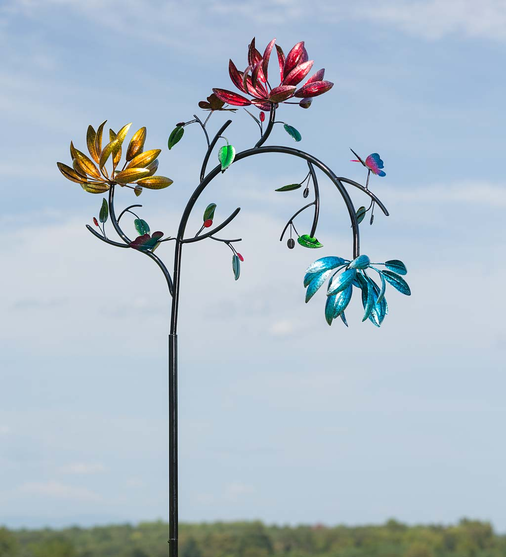 Large Garden Wind Spinner with Three Colorful Spinning Flowers