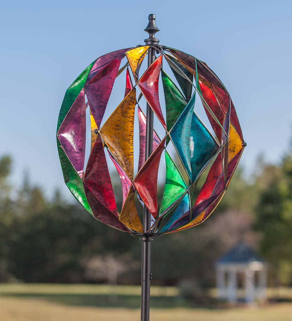 Harlequin Ball Garden Wind Spinner, in Antique Multi