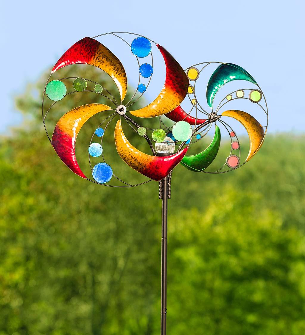 Double Swirling Wheels Garden Wind Spinner with Solar Ball