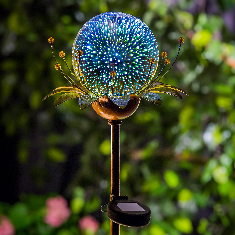 Solar Glass Globe Flower Garden Stake