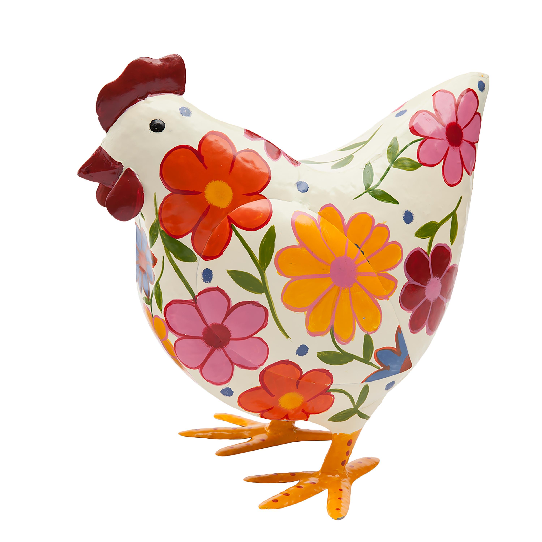 Folk Art Painted Metal Hen