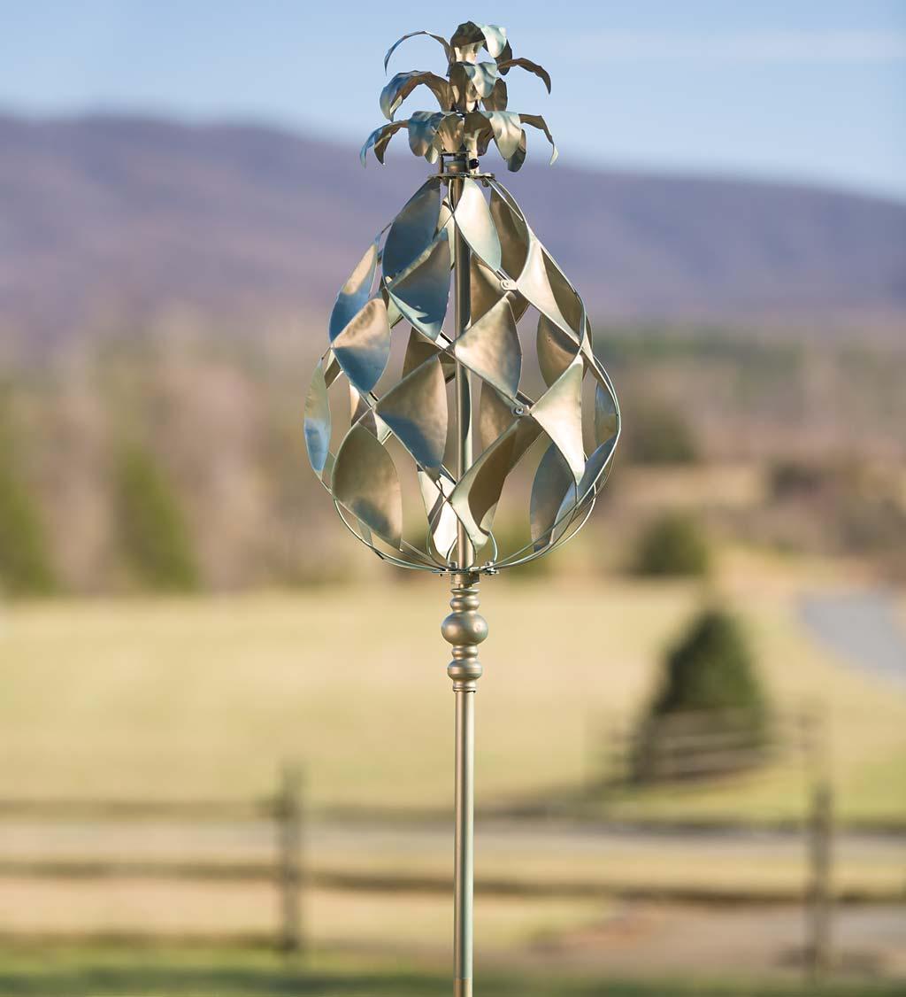 Verdigris Pineapple Garden Wind Spinner