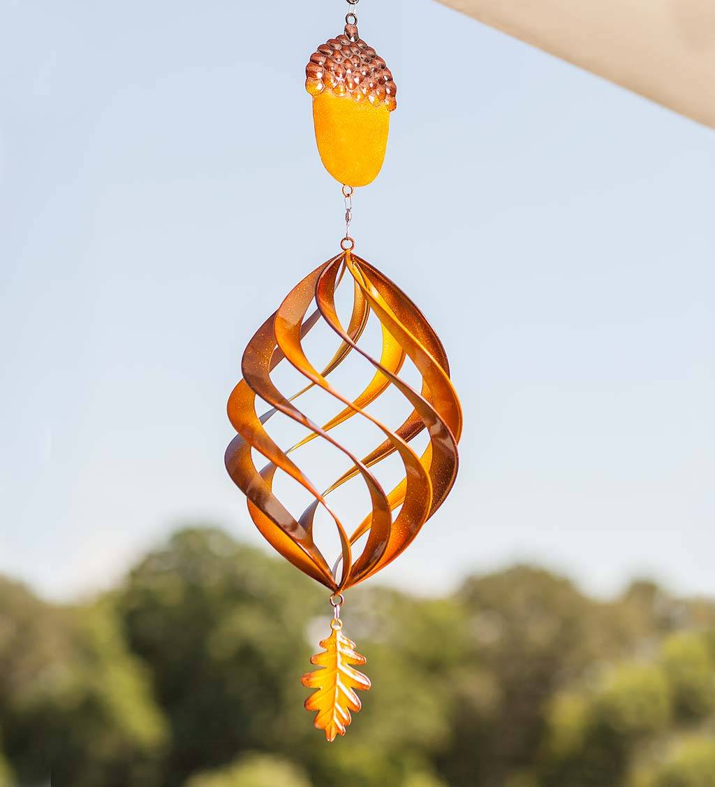 Acorn Hanging Swirl Garden Wind Spinner