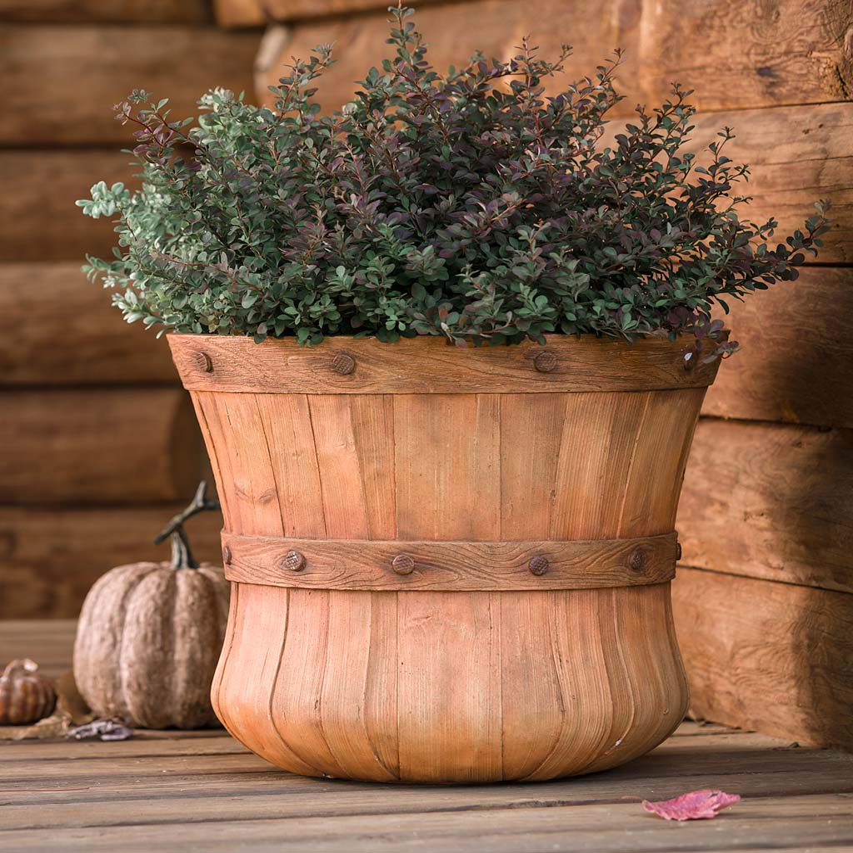 Large Faux Wood Bushel Basket Planter