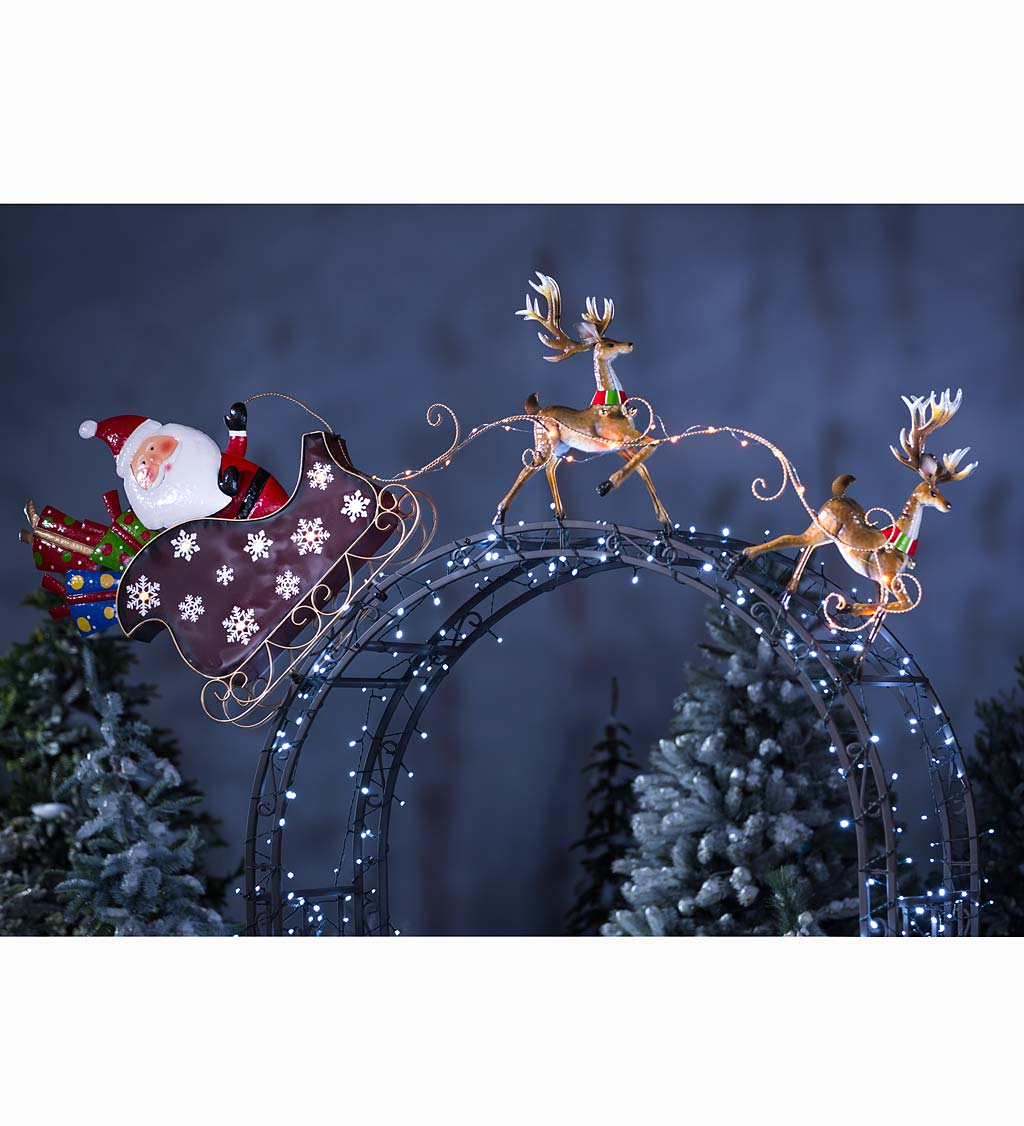 Solar Lighted Santa Sleigh Arbor Topper and Yard Art