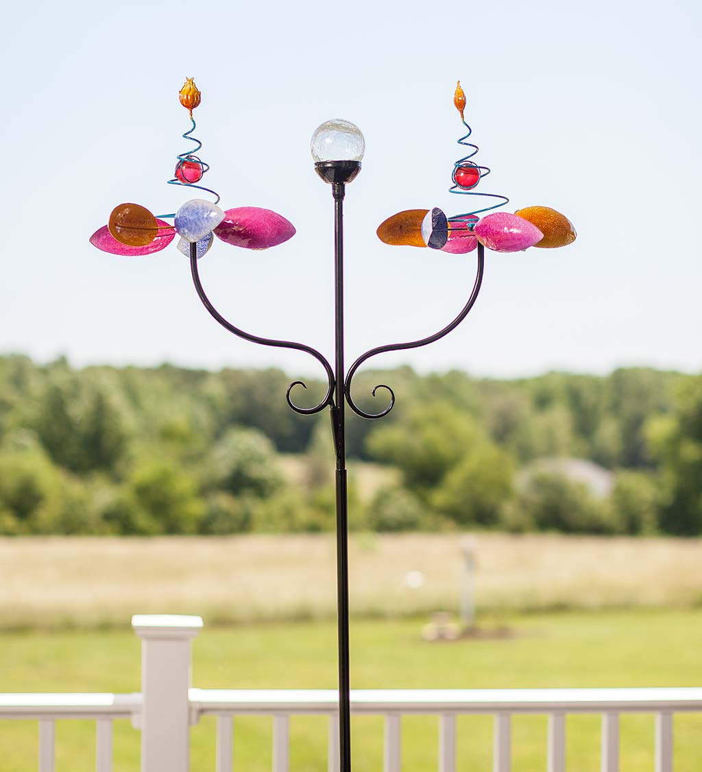 Double Flower Spring Spinner with Color-Changing Solar Ball
