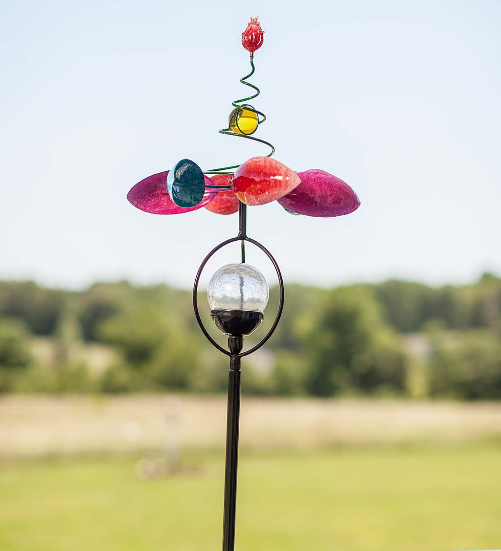 Single Flower Spring Spinner with Color Changing Solar Ball